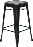 OSP Designs Bristow 26'' Antique Backless Metal Barstools - 2-Pack - Antique Black [BRW3026A2-AB-FS-OS]
