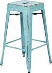 OSP Designs Bristow 26'' Antique Backless Metal Barstools - 2-Pack - Antique Sky Blue [BRW3026A2-ASB-FS-OS]