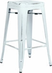 OSP Designs Bristow 26'' Backless Antique Metal Barstools - 2-Pack - Antique White [BRW3026A2-AW-FS-OS]