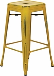OSP Designs Bristow 26'' Backless Antique Metal Barstools - 2-Pack - Antique Yellow [BRW3026A2-AY-FS-OS]