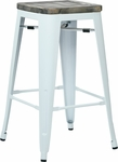 OSP Designs Bristow 26'' Metal Barstool with Wood Seat - 4-Pack - Antique White and Vintage Ash Crazy Horse [BRW312611A4-C306-FS-OS]