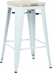 OSP Designs Bristow 26'' Metal Barstool with Wood Seat - 2-Pack - Antique White and Vintage Ash Yellow Stone [BRW312611A2-C308-FS-OS]