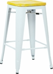 OSP Designs Bristow 26'' Metal Barstool with Wood Seat - 4-Pack - Antique White and Vintage Pine Irish [BRW312611A4-C305-FS-OS]