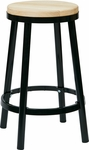 OSP Designs Bristow 26'' Metal Backless Barstool with Metal Legs - Black [BRW3226-3-FS-OS]