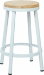 OSP Designs Bristow 26'' Metal Backless Barstool with Metal Legs - White [BRW3226-11-FS-OS]