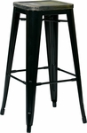 OSP Designs Bristow 30'' Metal Barstool with Wood Seat - 4-Pack - Antique Black and Vintage Ash Cameron [BRW31303A4-C301-FS-OS]