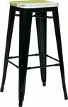 OSP Designs Bristow 30'' Metal Barstool with Wood Seat - 4-Pack - Antique Black and Vintage Pine Alice [BRW31303A4-C307-FS-OS]