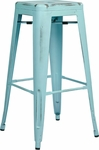 OSP Designs Bristow 30'' Backless Antique Metal Barstools - 2-Pack - Antique Sky Blue Finish [BRW3030A2-ASB-FS-OS]