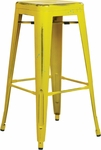 OSP Designs Bristow 30'' Backless Antique Metal Barstools - 2-Pack - Antique Yellow Finish [BRW3030A2-AY-FS-OS]