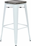 OSP Designs Bristow 30'' Metal Barstool with Wood Seat - 4-pack - Antique White and Vintage Ash Crazy Horse [BRW313011A4-C306-FS-OS]