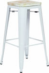 OSP Designs Bristow 30'' Metal Barstool with Wood Seat - Set of 2 - Antique White and Vintage Pine Irish [BRW313011A2-C305-FS-OS]