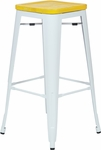 OSP Designs Bristow 30'' Metal Barstool with Wood Seat - 2-pack - Antique White and Vintage Yellow Stone [BRW313011A2-C308-FS-OS]