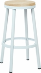 OSP Designs Bristow 30'' Metal Backless Barstool with Metal Legs - White [BRW3230-11-FS-OS]