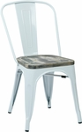 OSP Designs Bristow Metal Chair with Wood Seat - 2-Pack - White and Vintage Ash Crazy Horse [BRW2911A2-C306-FS-OS]