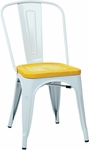 OSP Designs Bristow Metal Chair with Wood Seat - 2-Pack - White and Vintage Ash Yellowstone [BRW2911A2-C308-FS-OS]
