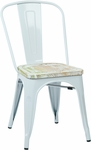 OSP Designs Bristow Metal Chair with Wood Seat - 4-Pack - White and Vintage Pine Irish [BRW2911A4-C305-FS-OS]