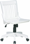 OSP Designs Deluxe Armless Wood Banker's Desk Chair with Wood Seat - White [101WHT-FS-OS]