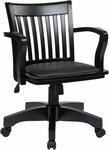 OSP Designs Deluxe Wood Banker's Chair with Black Vinyl Padded Seat - Black [108BLK-3-FS-OS]