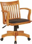 OSP Designs Deluxe Wood Banker's Chair with Black Vinyl Padded Seat - Fruitwood [108FW-3-FS-OS]