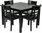 OSP Designs Everidge Modern 5 Piece Wood Dining Set with Slat Style Chairs - Black [EVR432-BK-FS-OS]