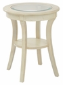 OSP Designs Harper Round Glass Top Accent Table with Wood Finish and Shelf - White