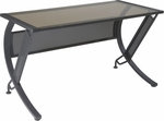 OSP Designs Horizon 52'' Desk with 1/4 Round Connector and Glass Top - Bronze [HZN25L-FS-OS]