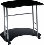 OSP Designs Kool Kolor Computer Desk with Casters - Jet Black [KK403-FS-OS]