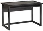 OSP Designs Meridian Collection Computer Desk with Tempered Glass Top and Pull Out Keyboard Tray - Black [MD2542-FS-OS]