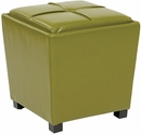 OSP Designs Metro 2-Piece Ottoman Set in Kiwi Green Eco Leather