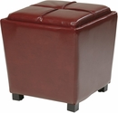 OSP Designs Metro 2-Piece Ottoman Set in Red Eco Leather