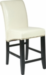 OSP Designs 24'' Metro Eco Leather Parsons Barstool with Nail Head Trim - Cream [MET8724CM-FS-OS]