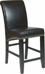 OSP Designs 24'' Metro Eco Leather Parsons Barstool with Nail Head Trim - Espresso [MET8724ES-FS-OS]