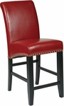 OSP Designs 24'' Metro Eco Leather Parsons Barstool with Nail Head Trim - Red [MET8724RD-FS-OS]