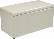 OSP Designs Metro 3-Piece Ottoman Set in Cream Eco Leather