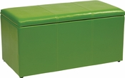 OSP Designs Metro 3-Piece Ottoman Set in Green Vinyl