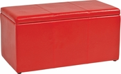 OSP Designs Metro 3-Piece Ottoman Set in Red Vinyl