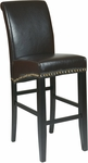 OSP Designs 30'' Metro Eco Leather Parsons Barstool with Nail Head Trim - Espresso [MET8730ES-FS-OS]