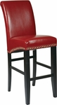 OSP Designs 30'' Metro Eco Leather Parsons Barstool with Nail Head Trim - Red [MET8730RD-FS-OS]