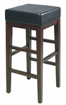 OSP Designs Metro 30'' Square Faux Leather Barstool with Solid Wood Legs - Black [ES30VS3-FS-OS]