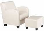 OSP Designs Faux Leather Metro Club Chair with Ottoman - Cream [MET807CM-FS-OS]