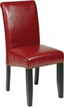 OSP Designs Metro Parsons Eco Leather Dining Chair with Nail Head Trim - Red [MET87RD-FS-OS]