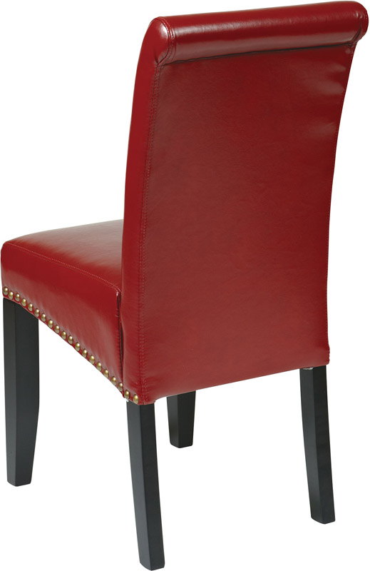 OSP Designs Metro Parsons Eco Leather Dining Chair with  : osp designs metro parsons eco leather dining chair with nail head trim red met87rd fs os 1 from www.bizchair.com size 519 x 800 jpeg 68kB
