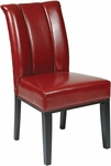OSP Designs Metro Eco Leather Pleated Back Parsons Chair - Crimson Red [MET89RD-FS-OS]