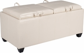 OSP Designs Metro Storage Ottoman with Dual Cushions and Trays in Cream