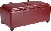 OSP Designs Metro Storage Ottoman with Dual Cushions and Trays in Crimson Red