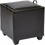OSP Designs Eco Leather Metro Storage Ottoman with Tray - Espresso [MET817BES-FS-OS]