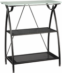 OSP Designs Tempered Glass Top Newport 2-Shelf Bookcase with Powder Coated Frame - Black [NWP27-BK-FS-OS]