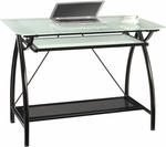 OSP Designs Tempered Glass Top Newport Computer Desk with Pull Out Keyboard Tray - Black [NWP25-BK-FS-OS]