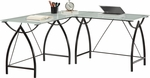 OSP Designs Tempered Glass Top Newport L-Shape Computer Desk with Powder Coated Frame - Black [NWP25L-BK-FS-OS]