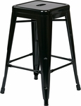 OSP Designs Patterson 24'' Steel Backless Barstool - Set of 2 - Black [PTR3024A2-3-FS-OS]